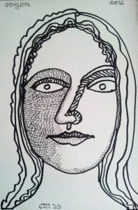 Jogen chowdhury Face Ink on Paper 9x6 in