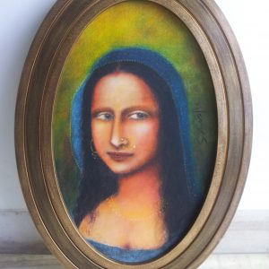 SUHAS ROY, MONALISA, ACRYLIC ON CANVAS 16.5X26